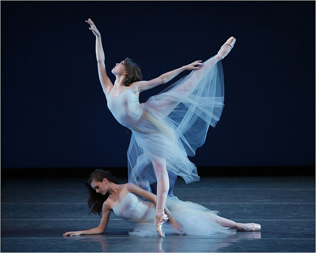 And here, in Balanchine's Serenade, when she was still at the School of American Ballet.