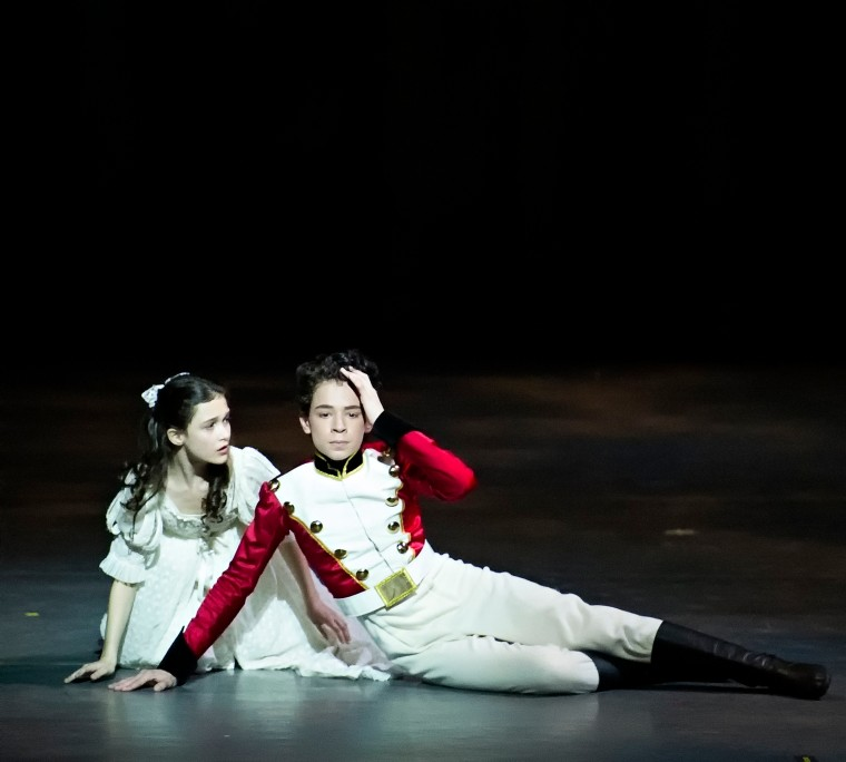 Adelaide Clauss and Philip Perez as Clara and the Nutcracker prince in Ratmansky's Nutcracker for ABT. Photo by Gene Schiavone.