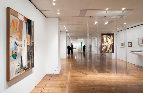 "The first gallery in ""Dancing Around the Bride."" On the left, Rauschenberg's ""Bride's Folly,"" 1959. Center: Duchamp's ""Bride,"" 1912. Photo by Constance Mensch for the Philadelphia Museum of Art."