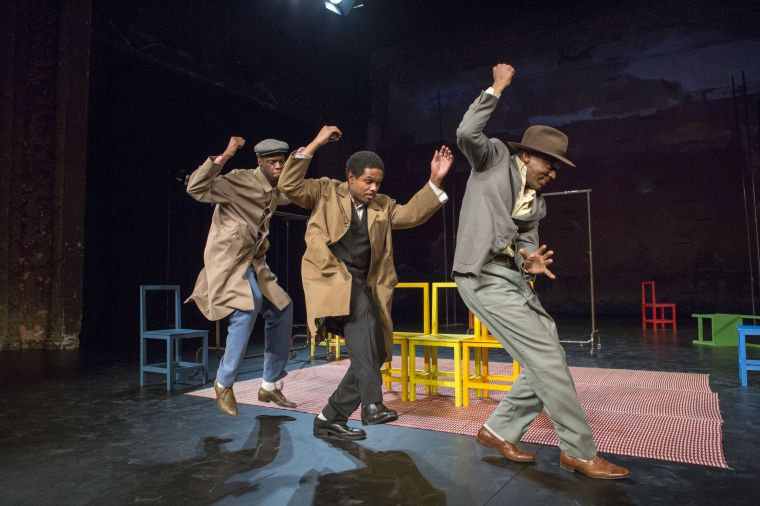 "Rikki Henry, Jared McNeill, and William Nadylam in ""The Suit."" Photo by Richard Termine."