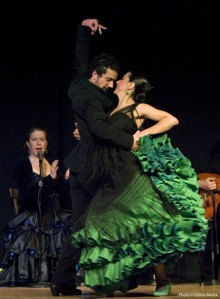 Gabriela Granados (in green), Juan Siddi and Aurora Reyes of American Bolero Dance Company.