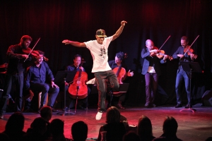 Lil Buck and the members of Brooklyn Rider and Yo Yo Ma at Le Poisson Rouge. Photo by Erin Baiano.