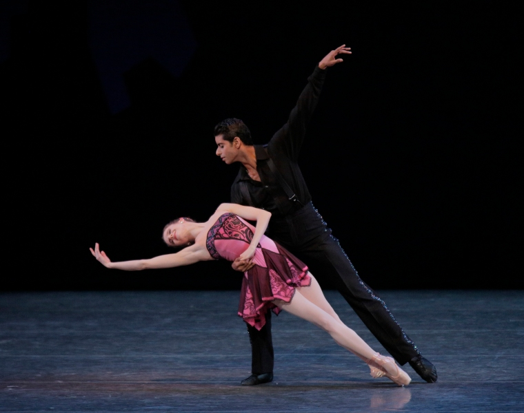 "Sterling Hyltin and Amar Ramasar in Balanchine's ""The Man I Love."" Photo by Paul Kolnik."