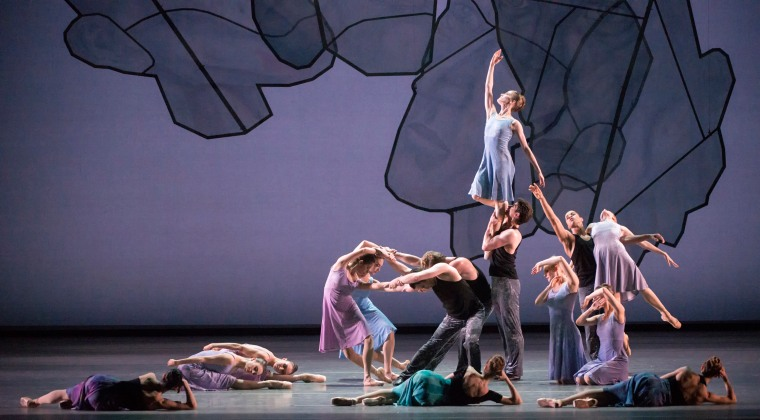 "Part of the final tableau in ""Chamber Symphony,"" the second part of Ratmansky's trilogy. Photo by Gene Schiavone."