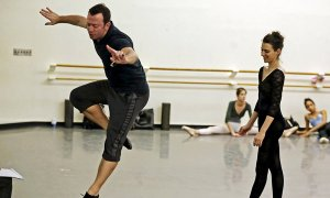Ratmansky demonstrating a step to Luciana Paris, of ABT. Photo by Andrea Mohin.
