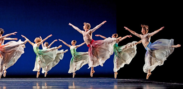 Houston Ballet in Mark Morris's Pacific. Photo by Amitava Sarkar.