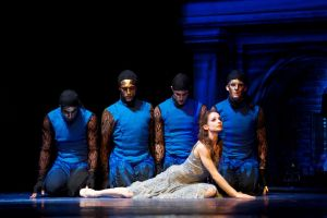 "Maria Kocketkova as Cinderella, and her four anonymous ""helpers."" Photo by Erik Tomasson."