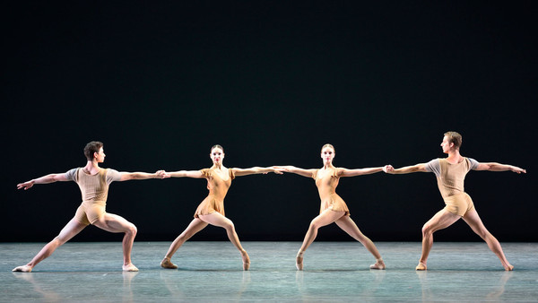 "Sterling Baca, Christine Shevchenko, Devon Teuscher, and Blaine Hoven in Twyla Tharp's ""Bach Partita"". Photo by Gene Schiavone."