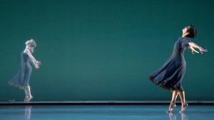 """Lauren Grant and Maile Okamura in Mark Morris's """"L'Allegro, il Penseroso ed il Moderato."""" Photo by Kevin Yatarola."""