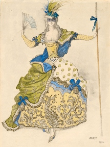 Costume design for a good fairy, by Léon Bakst for the Ballets Russes. See more here: http://hcl.harvard.edu/libraries/houghton/exhibits/diaghilev/iconic_designs/37_3.cfm