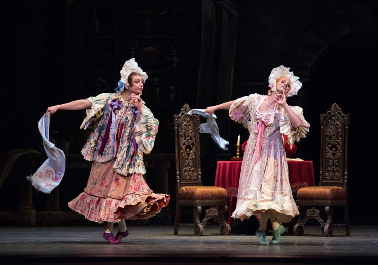"Roman Zhurbin and Craig Salstein as the Ugly Sisters in Frederick Ashton's ""Cinderella."" Photo by Rosalie O'Connor."
