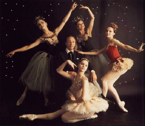 George Balanchine, Mimi Paul, Violette Verdy, Patricia McBride, and Suzanne Farrell, circa 1967. Photo by Edward Pfizenmaier.