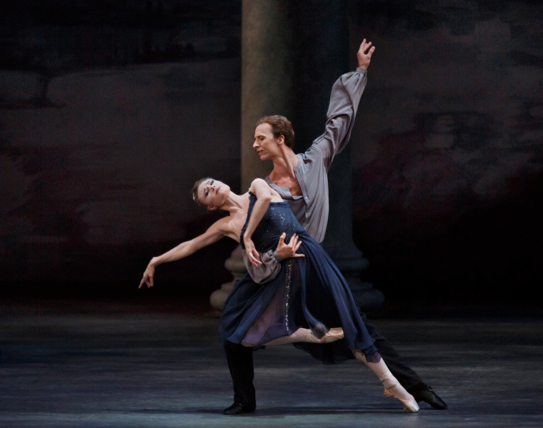 Sara Mearns and Ask la Cour in Peter Martins' Morgen, with designs by Carolina Herrera. Photo by Paul Kolnik.