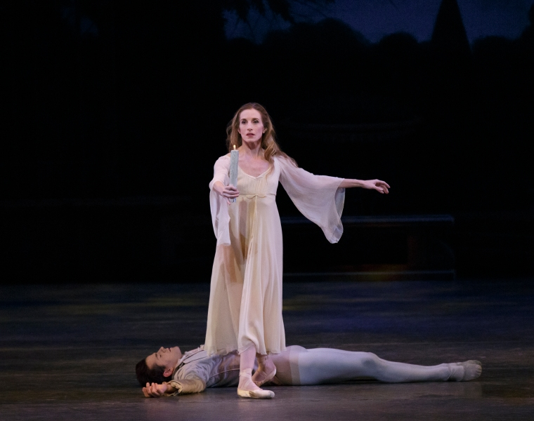 "Wendy Whelan as the Sleepwalker in Balanchine's ""La Sonnambula,"" with Robert Fairchild."