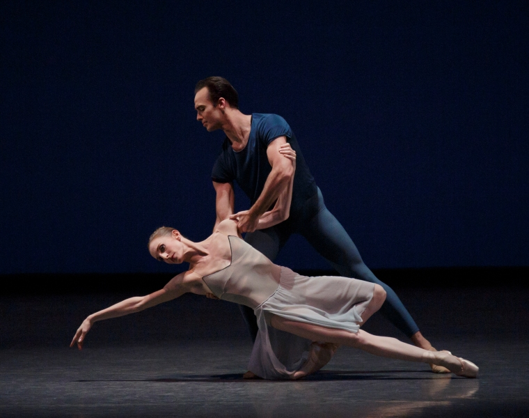 "With Tyler Angle, in ""By 2 With & From,"" a collaboratino with Wheeldon and Ratmansky. (Paul Kolnik)"