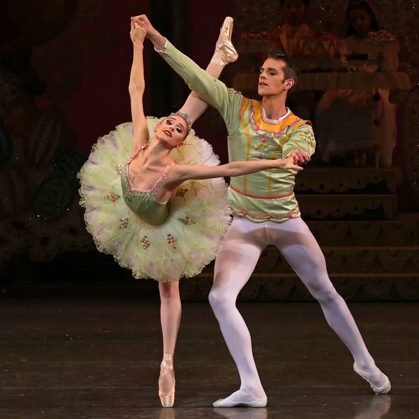 "Russell Janzen and Ashley Laracey in Balanchine's ""Nutcracker."" Photo by Paul Kolnik."