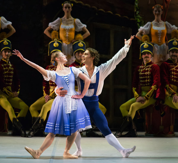 "Angelina Vorontsova and Ivan Vasiliev in ""Halte de Cavalerie."" Photo credit: Mikhailovsky Theatre."
