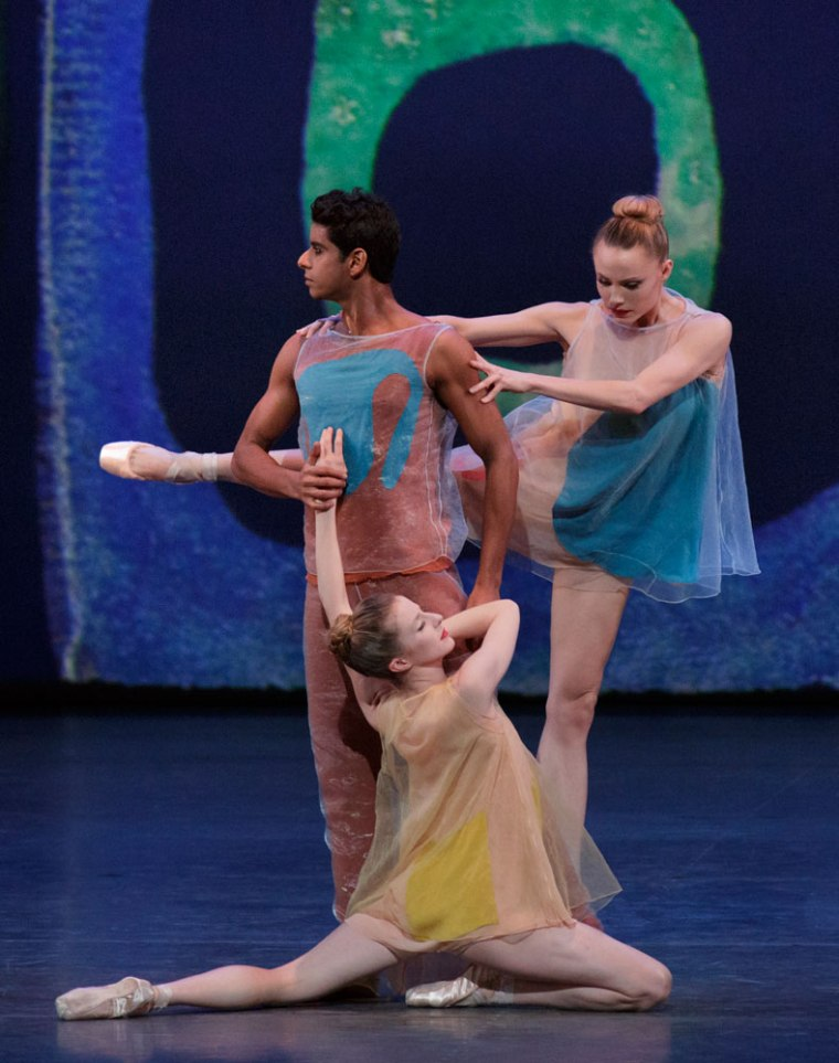 "Ramasar, Mearns, and Sterling Hyltin in Alexei Ratmansky's ""Pictures at an Exhibition."" Photo by Paul Kolnik."