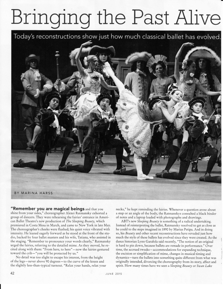 My piece on ballet reconstructions for Dance Magazine.