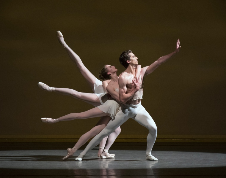 Zachary Catazaro as Apollo, with Sterling Hyltin, Ana Sofia Scheller, and Sara Mearns (invisible). Photo by Paul Kolnik.