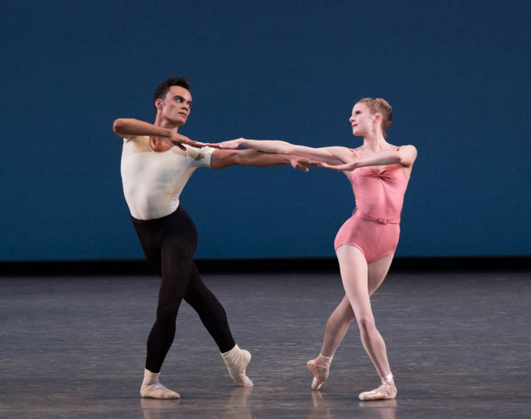 "Taylor Stanley and Sterling Hyltin in ""Symphony in Three Movements."" Photo by Paul Kolnik."