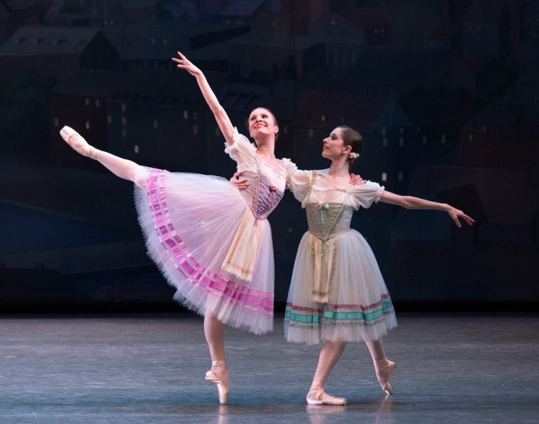 Lauren King and Rebecca Krohn in Bournonville Divertissements. Photo by Paul Kolnik.