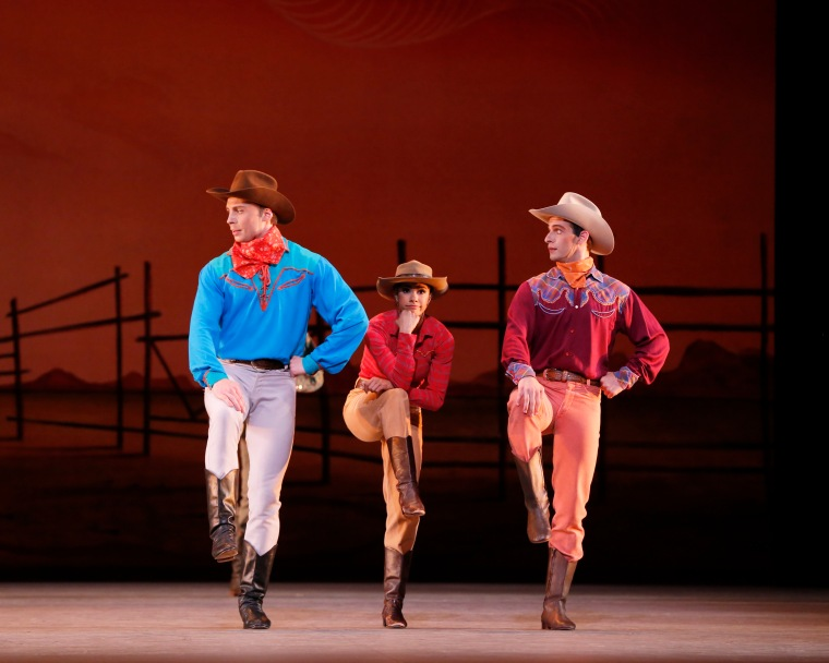 Roman Zhurbin, Misty Copeland and Craig Salstein in Rodeo. Photo: Marty Sohl.