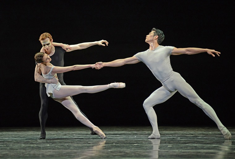Lauren Cuthbertson, Edward Watson and Ryoichi Hirano in Kenneth MacMillan's Song of the Earth. Photo by Dave Morgan, courtesy the Royal Opera House.