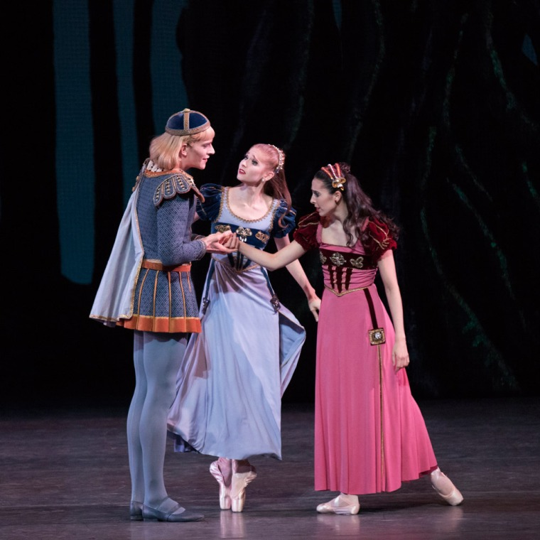 "Russell Janzen, Ashley Laracey, and Brittany Pollack in Balanchine's ""Midsummer Night's Dream."" Photo by Paul Kolnik."
