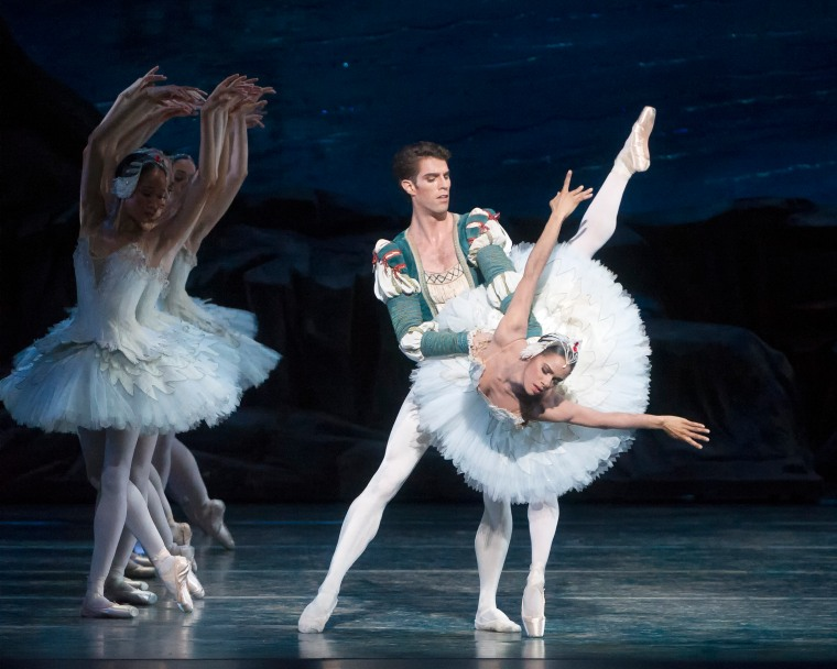 Misty Copeland (Odette) and James Whiteside (Prince Siegfried) in Swan Lake.  Photo: Gene Schiavone.